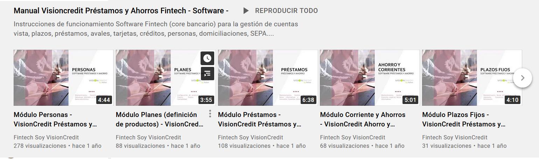 Manual youtube VisiionCredit Préstamos y Ahorros Fintech
